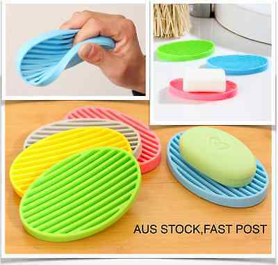 Easy Drain Easy Clean Silicone Soap Dish Holder Case Bathroom Container FastPost