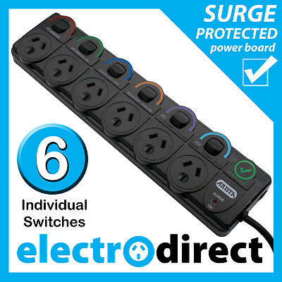 6 way Surge Protected Power Board with Individual Switches +Overload Protector