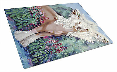 Carolines Treasures  7052LCB Chinese Crested in flowers  Glass Cutting Board Lar