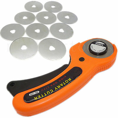45mm Rotary Cutter Fabric Cutting Tool & 10pcs 45MM Refill Replacement Blades