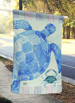 Carolines Treasures  ALT1051CHF Turtle and Blue Crab Flag Canvas House Size