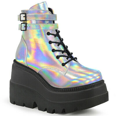 Shaker-52 Combat Army Goth Biker Lace Up Stacked Wedge Platform  Ankle Boot
