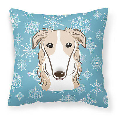 Carolines Treasures  BB1662PW1414 Snowflake Borzoi Fabric Decorative Pillow