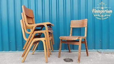 4 x Beautiful 50s Vintage Industrial Stacking Stackable School Cafe Diner Chairs