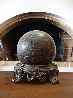 Rare Antique Vintage Handmade Bronze Brass World Globe Sphere Terrestrial
