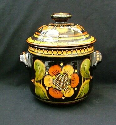 Brightly coloured Small two handled lidded casserole pot