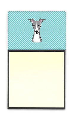 Checkerboard Blue Italian Greyhound Refiillable Sticky Note Holder or Postit Not
