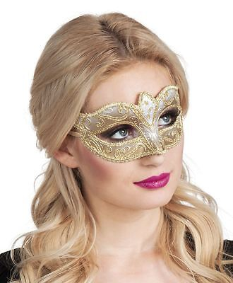 Womens Ladies Venice Venetian Felina Eye Mask Gold Masquerade Ball Fancy Dress