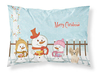 Merry Christmas Carolers Papillon Sable White Fabric Standard Pillowcase