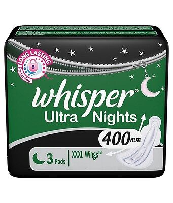 Whisper Ultra Nights Sanitary Towels Super Absorbent Pads Soft XXXL Wings 400mm