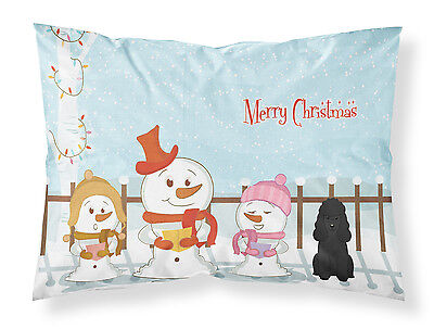 Merry Christmas Carolers Poodle Black Fabric Standard Pillowcase