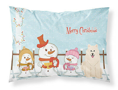 Merry Christmas Carolers Samoyed Fabric Standard Pillowcase