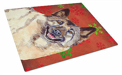 Norwegian Elkhound Red and Green Snowflakes Christmas Glass Cutting Board Large