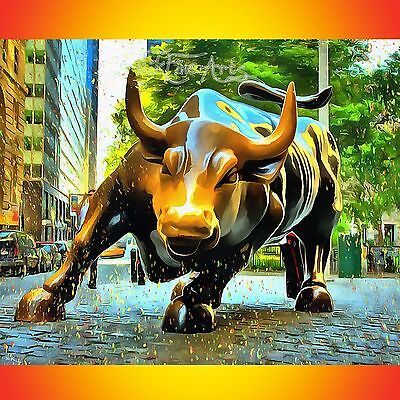 Nik Tod Original Painting Large Signed Art Nikfinearts Charging Bull Wall Street