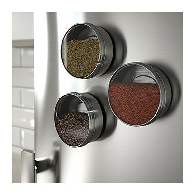 ikea 3 magnetic spice container stainless steel tins spice jars silver grundtal