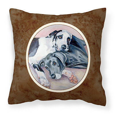 Black and Harlequin Great Dane Fabric Decorative Pillow