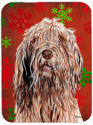 Otterhound Red Snowflakes Holiday Glass Cutting Board Large Size
