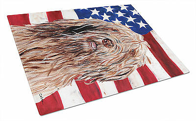 Otterhound with American Flag USA Glass Cutting Board Large Size