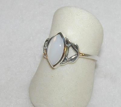 White Shell Marquise Ring Sterling Silver Celtic Size 5, 6.5, 7.75, 8.75