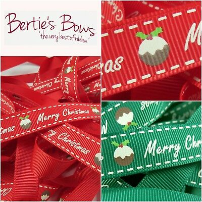 Bertie's Bows Merry Christmas Ribbon - Christmas Pudding - Red Or Green