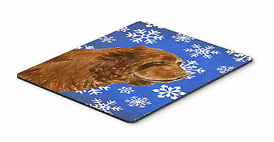Sussex Spaniel Winter Snowflakes Holiday Mouse Pad, Hot Pad or Trivet