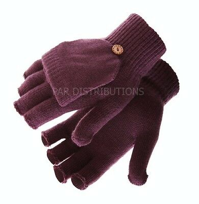 NEW Light Purple Thermal Ladies Gloves Mittens Fingerless Flap Thermal Winter