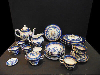 Booths Real Old Willow Collection, Tea, Coffee, Vegetable Tureen, Cups Saucers