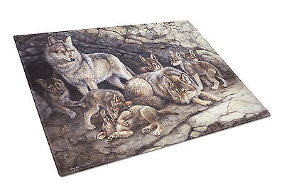 Wolf Wolves by the Den Glass Cutting Board Large