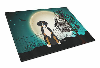 Halloween Scary Greater Swiss Mountain Dog Glass Cutting Board Large