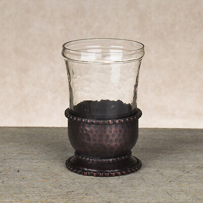 The GG Collection Antique Copper Finish Hammered Metal & Glass Bathroom Tumbler