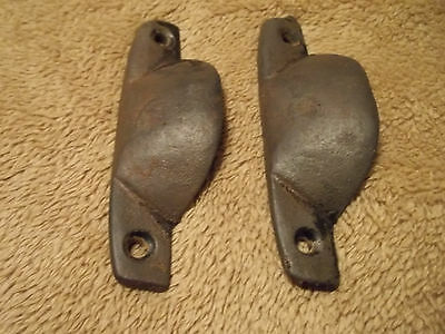 2 Matching Old Industrial Cast Iron Bin Pulls,Aged Patina, Free S/H