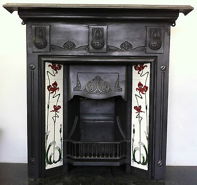 Original Restored Antique Cast Iron Art Nouveau Fireplace Tiled Insert (PK053)