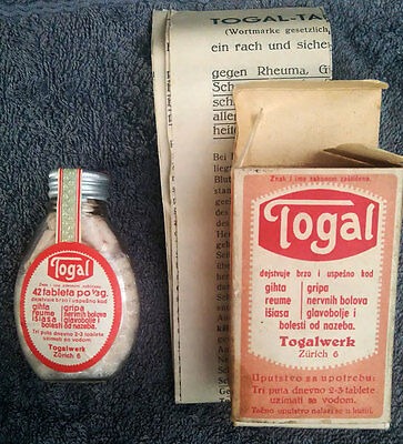 """ANTIQUE pharmaceut.  """"TOGAL-ZURICH""""-opened box w.bottle w. 42 tabl."""
