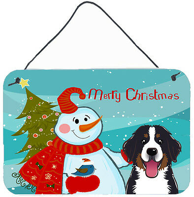 Snowman with Bernese Mountain Dog Wall or Door Hanging Prints