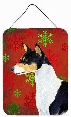 Basenji Red and Green Snowflakes Holiday Christmas Wall or Door Hanging Prints