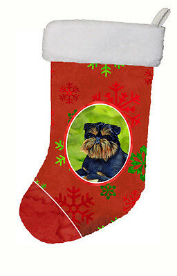 Brussels Griffon Red and Green Snowflakes Holiday Christmas Stocking