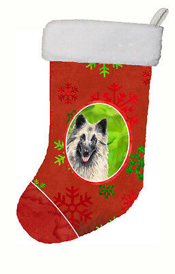Belgian Tervuren Red and Green Snowflakes Holiday  Christmas Stocking SC9432