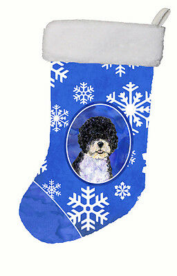 Portuguese Water Dog Winter Snowflakes Christmas Stocking SS4628