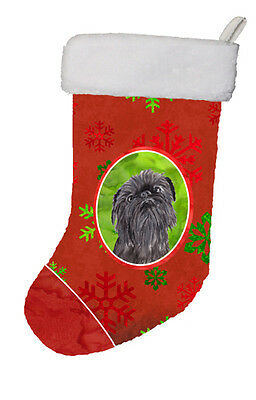 Brussels Griffon Red Snowflakes Holiday Christmas Stocking