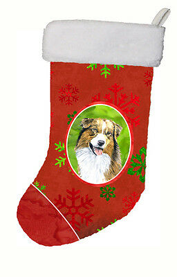 Australian Shepherd Red and Green Snowflakes Holiday  Christmas Stocking SC9437