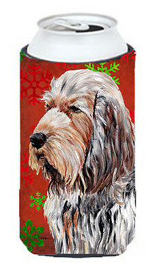 Otterhound Red Snowflakes Holiday Tall Boy Beverage Insulator Hugger