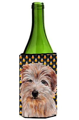 Norfolk Terrier Candy Corn Halloween Wine Bottle Beverage Insulator Hugger