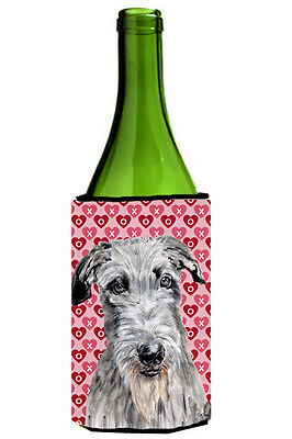 Scottish Deerhound Hearts and Love Wine Bottle Beverage Insulator Hugger