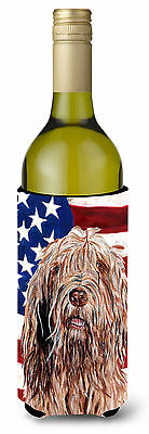 Otterhound with American Flag USA Wine Bottle Beverage Insulator Hugger