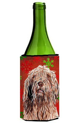 Otterhound Red Snowflakes Holiday Wine Bottle Beverage Insulator Hugger
