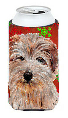 Norfolk Terrier Red Snowflakes Holiday Tall Boy Beverage Insulator Hugger