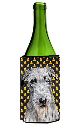 Scottish Deerhound Candy Corn Halloween Wine Bottle Beverage Insulator Hugger