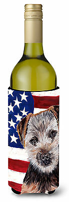 Norfolk Terrier Puppy with American Flag USA Wine Bottle Beverage Insulator Hugg