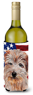 Norfolk Terrier with American Flag USA Wine Bottle Beverage Insulator Hugger