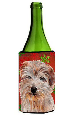 Norfolk Terrier Red Snowflakes Holiday Wine Bottle Beverage Insulator Hugger